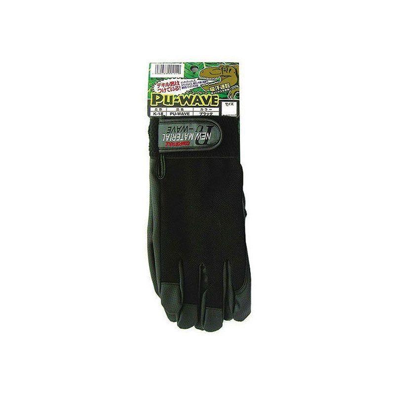【メール便OK(2個まで)】合成皮革おたふく手袋ブラックPu-WAVEK-18Mサイズ